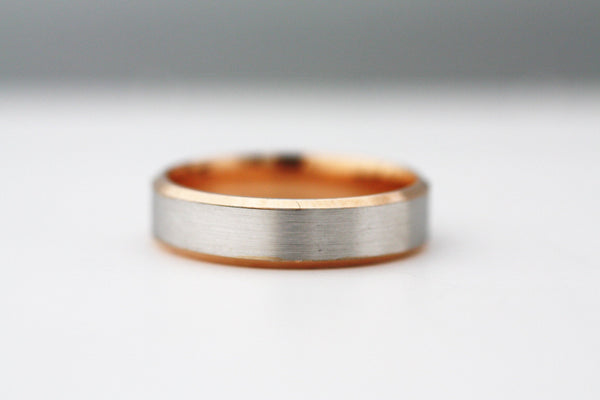 Classy Wedding Rose Gold 14K ring, Mens wedding ring