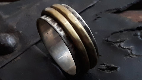 Sterling Silver and Brass Spinner oxidised ring