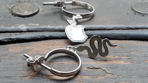 Silver hoop earrings, Snake and apple earrings