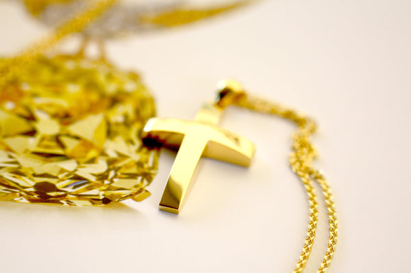 Gold Cross yellow gold Cross Personalized Baptism Cross Pendant
