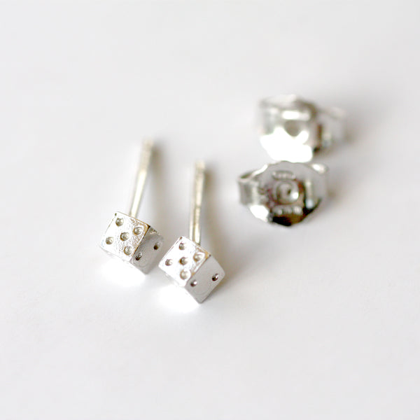 Dice Tiny Siver Earrings