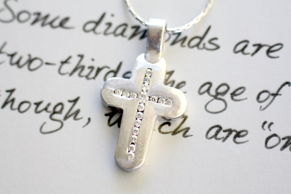 White Gold k18 Diamond Cross Baptism Cross
