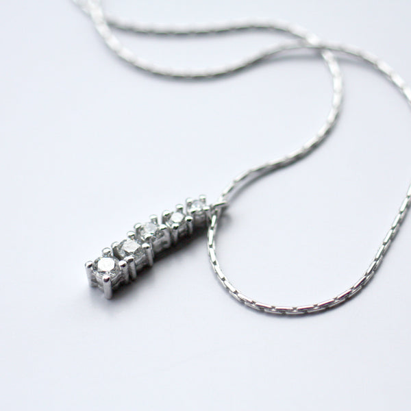 White Gold K18 Diamond Necklace Engagement Bride Pendant