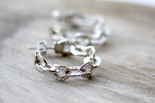 Chain hoop earrings, Huggie Silver hoop earrings