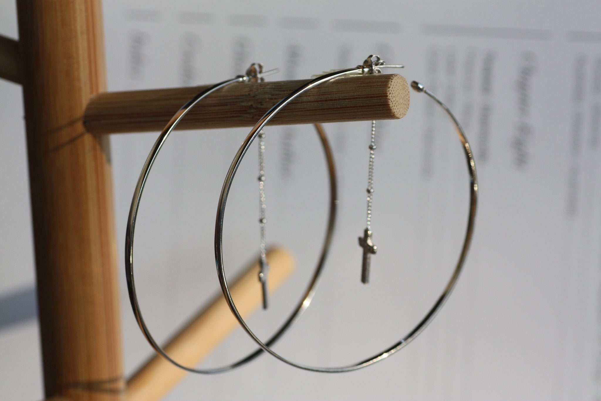 Silver Hoop earrings with chain and Cross