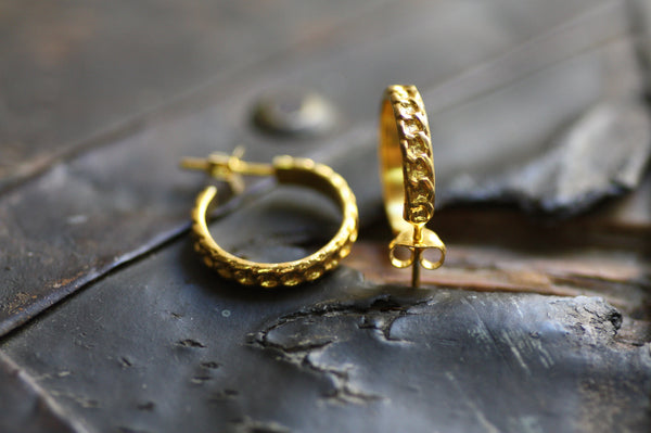 Sterling Silver Hoop earrings Yellow Gold plated