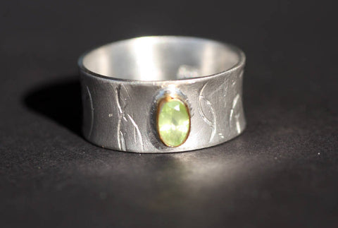 Sterling Silver and Gold K14, Peridot ring