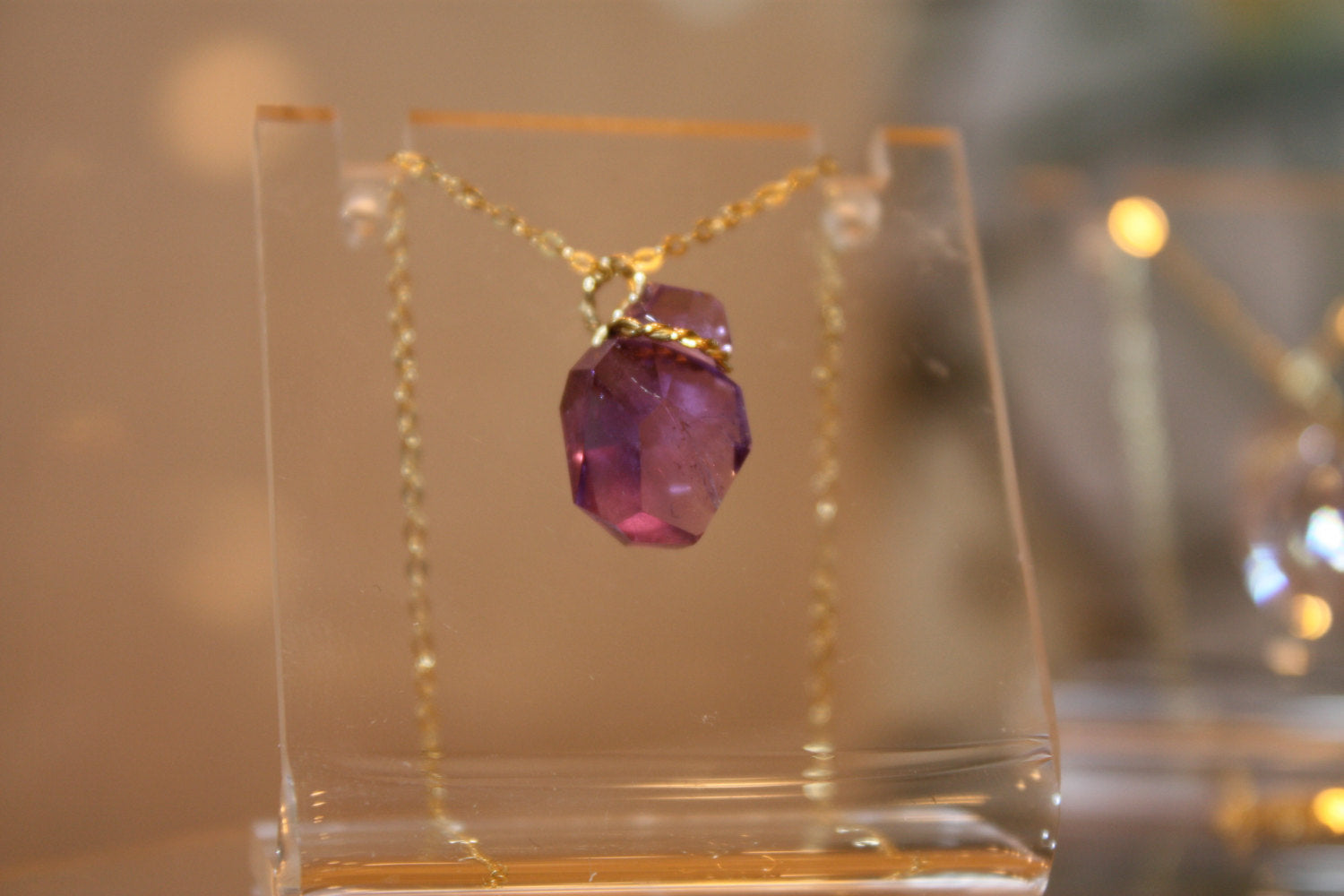 Handcrafted Amethyst Solid Gold Pendant Gold Wire Necklace