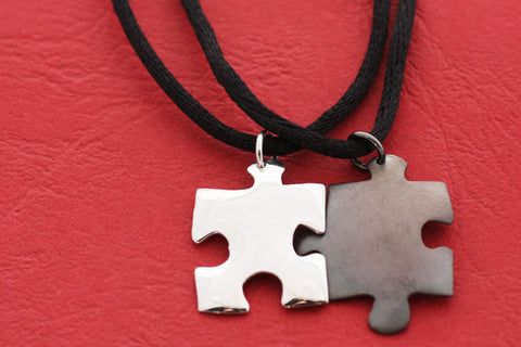 Sterling Silver Puzzle Pendants Valentines Day gift, Gift for couples, Necklace