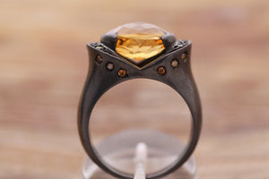 Citrine, yellow sapphire, Cognac and yellow diamond ring, Sterling Silver Citrine ring