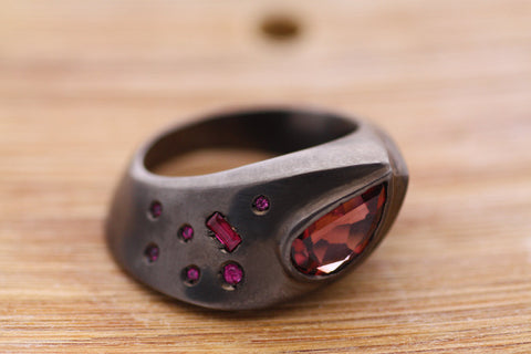 Tourmaline Sapphire and Ruby ring, Statement Silver ring black Rhodium plated