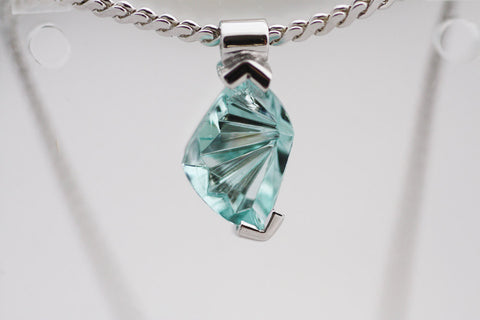 Aquamarine silver pendant, Gift necklace for her