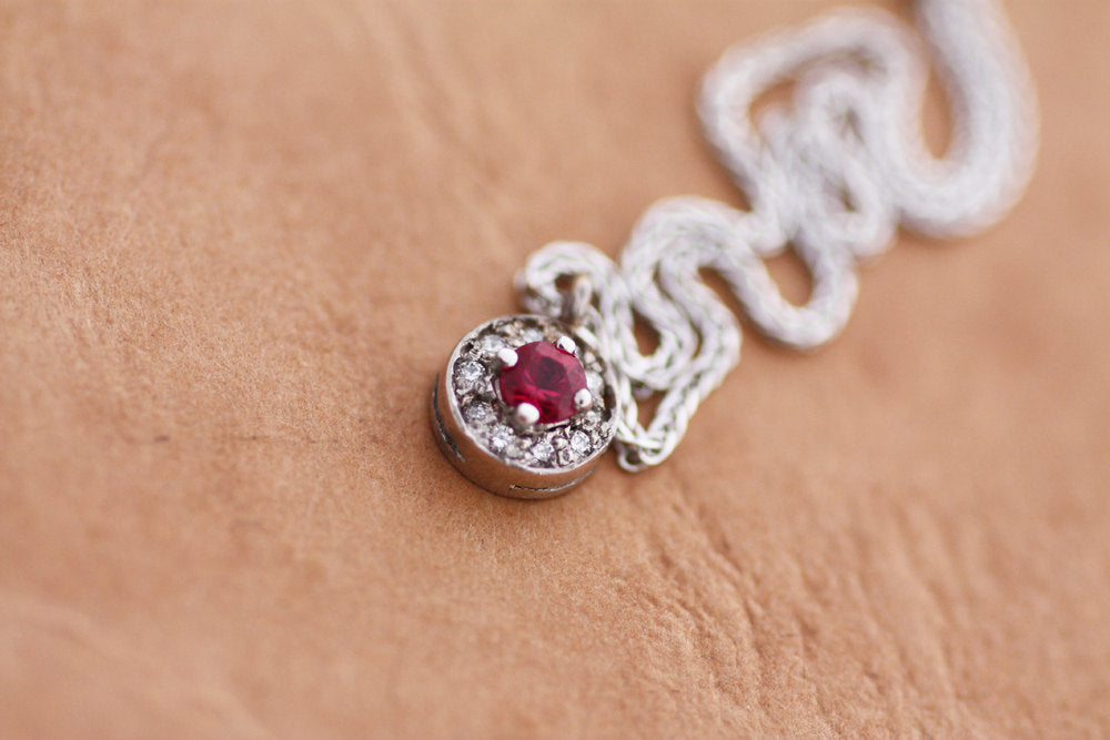 Ruby Diamond white gold K18 Necklace July birthstone Pendant