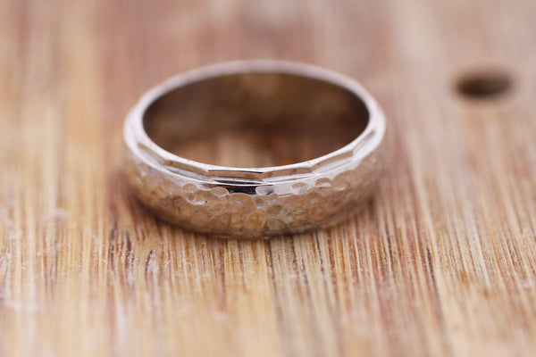 Hammered Gold Wedding ring Personalized Engraved Sterling Silver ring