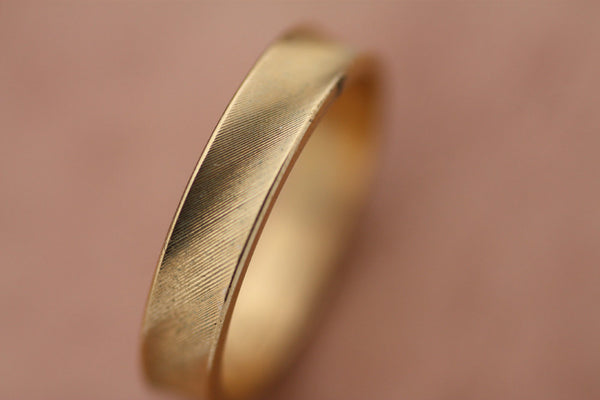 Wedding Engagement Gold Ring, Textured engraved ring