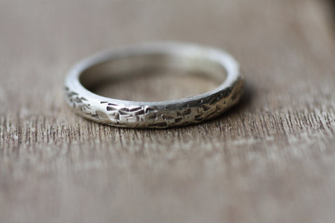 Sterling Silver Hammered handmade ring, Semi-round silver Textured ring