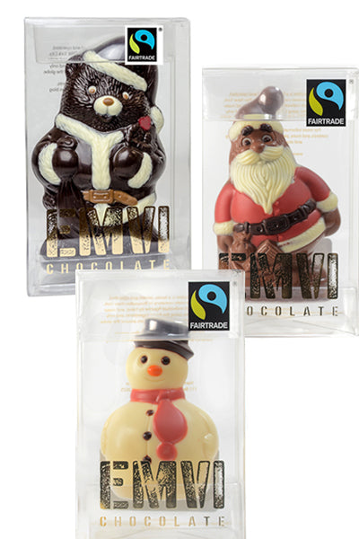 Fair Trade Chocolate Christmas Trio - Santa Bear, Santa Claus, Snow Man