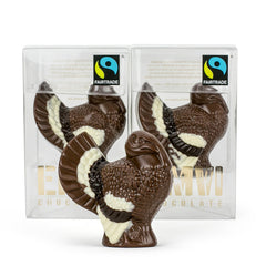 Our Chocolate Artisans use milk, dark & white chocolate as accents to make our Fair Chocolate Turkey a stand-out for Thanksgiving.
