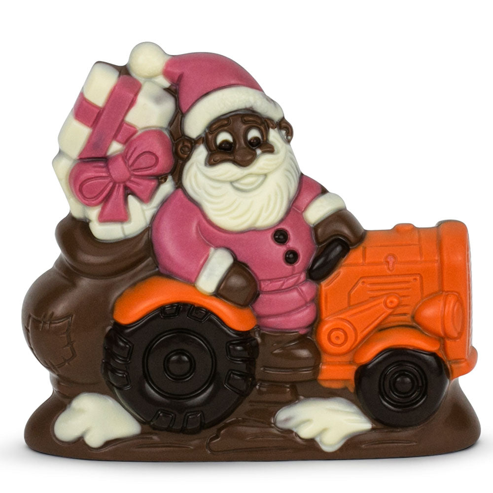 Chocolate Tractor Santa - Orange Tractor