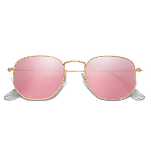 EPIC X Emma Small Square Polarized Sunglasses for Men and Women Polygon Mirrored Lens SJ1072 with Gold Frame/Pink Mirrored Lens