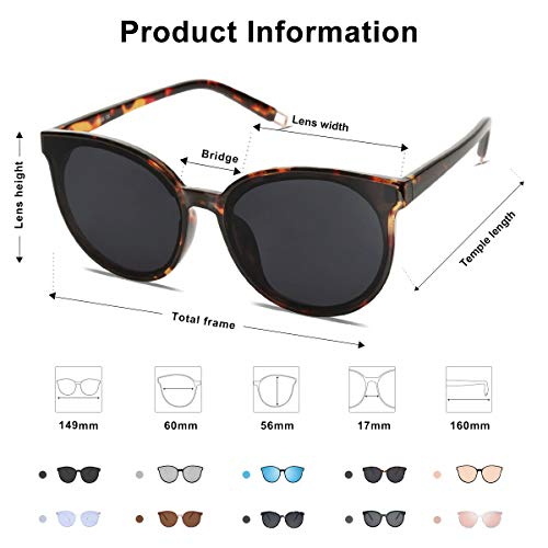 EPIC X ANNA Fashion Round Sunglasses for Women Men Oversized Vintage Shades SJ2057 with Tortoise Frame/Grey Lens and T