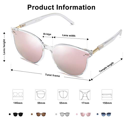 EPIC X BROOKS Classic Round Retro Plastic Frame Vintage Large Sunglasses BLOSSOM SJ2067 with Crystal Frame/Pink Mirrored Lens