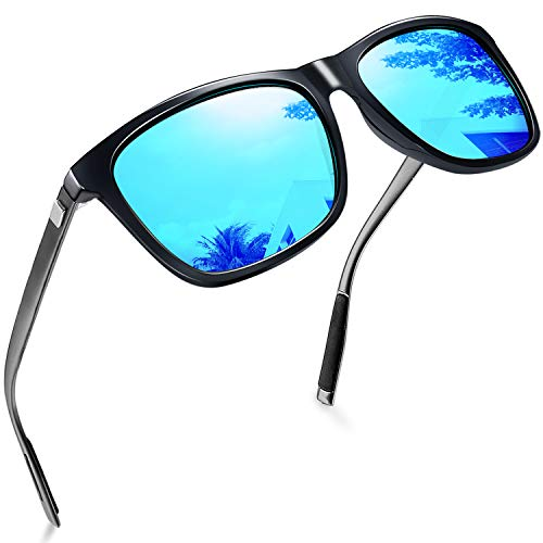 EPIC X RETRO WAYFARER Unisex Polarized Sunglasses Men Women Vintage Sun Glasses (Blue Aluminum)