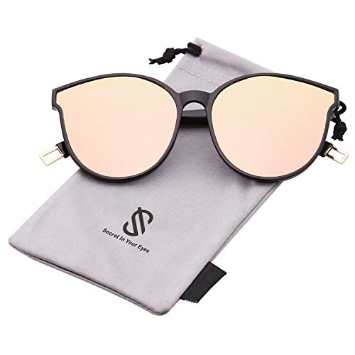EPIC X ANNA Fashion Round Sunglasses for Women Men Oversized Vintage Shades SJ2057 with Black Frame/Pink Mirrored Lens