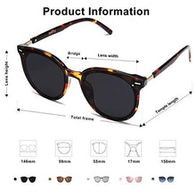 Load image into Gallery viewer, EPIC X BROOKS Classic Round Retro Plastic Frame Vintage Large Sunglasses BLOSSOM SJ2067 with Tortoise Frame/Grey Lens