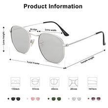 Load image into Gallery viewer, Epic X Emma Small Square Polarized Sunglasses for Men and Women Polygon Mirrored Lens SJ1072 with Silver Frame/Silver Mirrored Lens