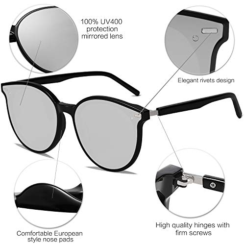 EPIC X BROOKS Classic Round Retro Plastic Frame Vintage Large Sunglasses BLOSSOM SJ2067 with Black Frame/Silver Mirrored Lens