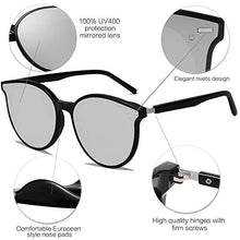 Load image into Gallery viewer, EPIC X BROOKS Classic Round Retro Plastic Frame Vintage Large Sunglasses BLOSSOM SJ2067 with Black Frame/Silver Mirrored Lens