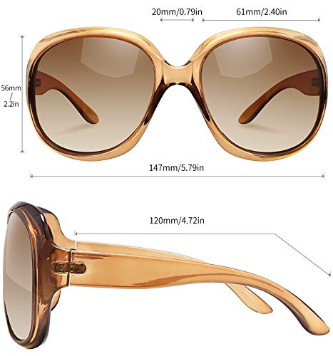 EPIC X AVA Oversized Polarized Sunglasses for Women, Ladies Fashion Thick Big Frame Sun Glasses Shades for Women (Gradient Brown)