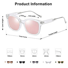 Load image into Gallery viewer, EPIC X Bella Classic Square Polarized Sunglasses Unisex UV400 Mirrored Glasses SJ2050 with Transparent Frame/Pink Mirrored Lens