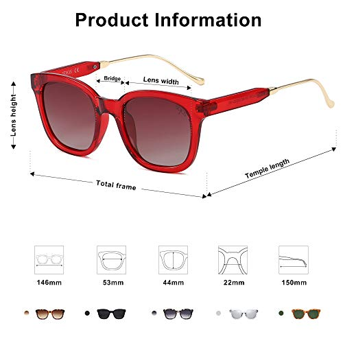 EPIC X BELLA Classic Square Polarized Sunglasses Unisex UV400 Mirrored Glasses SJ2050 with Red Frame/Gradient Burgundy Lens