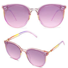 Load image into Gallery viewer, EPIC X BROOKS Classic Round Retro Plastic Frame Vintage Large Sunglasses BLOSSOM SJ2067 with Rainbow Frame/Gradient Purple Top and Pink Bottom Lens