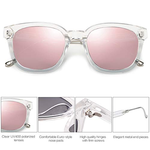 EPIC X Bella Classic Square Polarized Sunglasses Unisex UV400 Mirrored Glasses SJ2050 with Transparent Frame/Pink Mirrored Lens