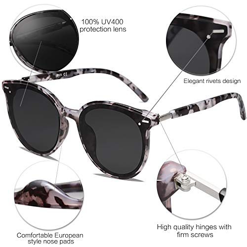 EPIC X BROOKS Classic Round Retro Plastic Frame Vintage Large Sunglasses BLOSSOM SJ2067 with Grey Tortoise Frame/Grey Lens