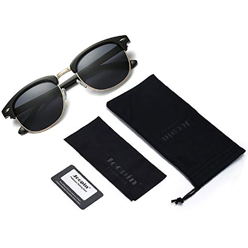 EPIC X CARTER Semi Rimless Polarized Sunglasses Women Men Retro Brand Sun Glasses (Brilliant Black Simple packaging)