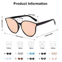 Load image into Gallery viewer, EPIC X ANNA Fashion Round Sunglasses for Women Men Oversized Vintage Shades SJ2057 with Black Frame/Pink Mirrored Lens