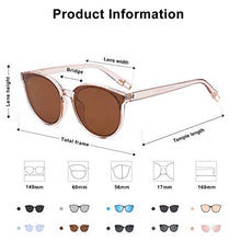 Load image into Gallery viewer, EPIC X ANNA Fashion Round Sunglasses for Women Men Oversized Vintage Shades SJ2057 with Clear Frame/Brown Lens