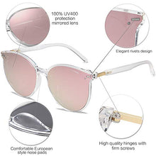 Load image into Gallery viewer, EPIC X BROOKS Classic Round Retro Plastic Frame Vintage Large Sunglasses BLOSSOM SJ2067 with Crystal Frame/Pink Mirrored Lens