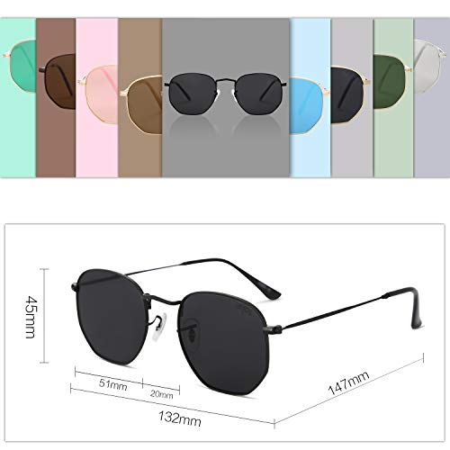 EPIC X Emma Small Square Polarized Sunglasses for Men and Women Polygon Mirrored Lens SJ1072 with Black Frame/Grey Lens