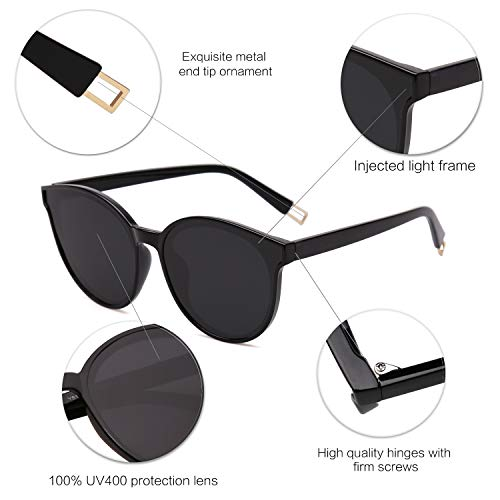 EPIC X ANNA Fashion Round Sunglasses for Women Men Oversized Vintage Shades SJ2057 with Black Frame/Black Lens