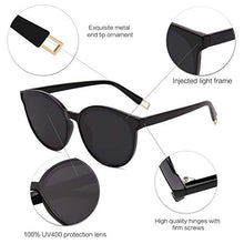 Load image into Gallery viewer, EPIC X ANNA Fashion Round Sunglasses for Women Men Oversized Vintage Shades SJ2057 with Black Frame/Black Lens
