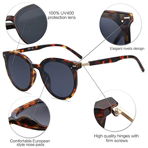 EPIC X BROOKS Classic Round Retro Plastic Frame Vintage Large Sunglasses BLOSSOM SJ2067 with Tortoise Frame/Grey Lens