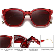 Load image into Gallery viewer, EPIC X BELLA Classic Square Polarized Sunglasses Unisex UV400 Mirrored Glasses SJ2050 with Red Frame/Gradient Burgundy Lens