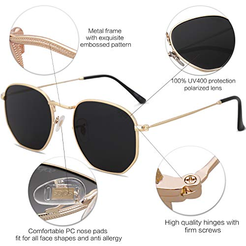 EPIC X Emma Small Square Polarized Sunglasses for Men and Women Polygon Mirrored Lens SJ1072 with Gold Frame/Grey Lens