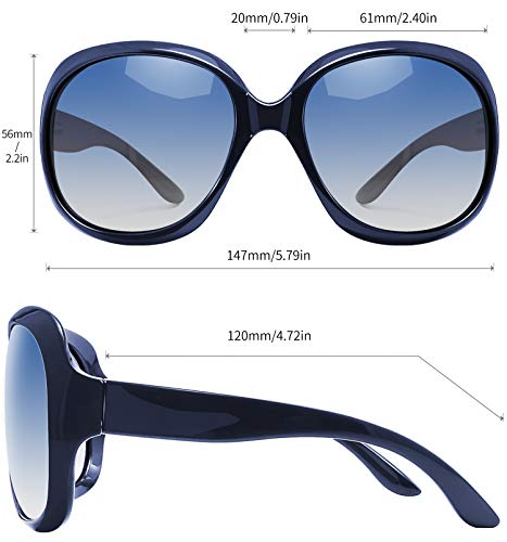 EPIC X AVA Oversized Polarized Sunglasses for Women, Ladies Fashion Thick Big Frame Sun Glasses Shades for Women (Gradient Ocean Blue)