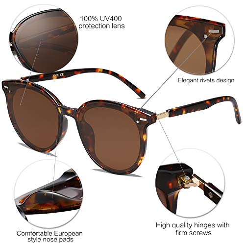 EPIC X BROOKS Classic Round Retro Plastic Frame Vintage Large Sunglasses BLOSSOM SJ2067 with Tortoise Frame/Brown Lens
